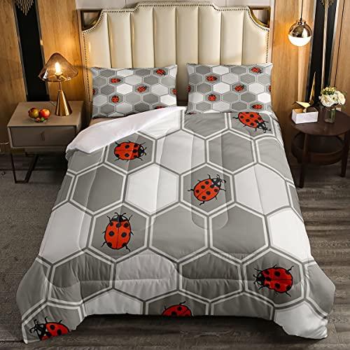 Erosebridal Geometric Comforter Set Full Size,Grey White Hexagonal Honeycomb Bedding Set for Kids Girls Teens Women,Geometric Diamond Down Comforter Red Hexapod Animal Duvet Sets with 2 Pillow Cases