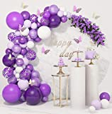 124 Pcs Purple Balloons Garland Arch Kit White Purple Confetti Latex Metallic Balloons with Paper Butterfly for Women Birthday Baby Shower Wedding Party Decorations Supplies with 4Pcs Balloon Tools