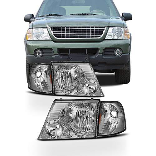 4Pcs Combo Fits 2002-2005 Ford Explorer 4Door Model Chrome Headlights w/Corner Signal Lamp Left+Right Pair