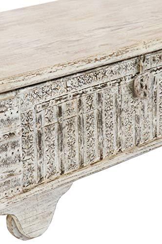 Orientalische Truhe Kiste Holz Ajala 121cm groß in Shabby Weiß | Vintage Sitzbank mit Aufbewahrung für den Flur | Aufbewahrungsbox mit Deckel im Bad | Betttruhe als Kissenbox oder Deko im Schlafzimmer - 3
