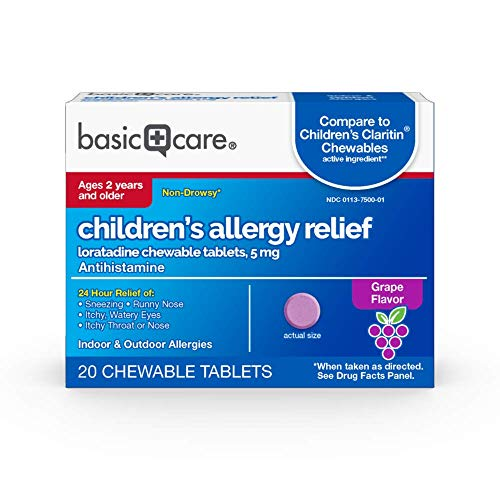 Amazon Basic Care Children's Allergy Relief, Loratadine Chewable Tablets, 5 mg, Antihistamine, 20 Count
