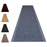 Carpet Runner Black Rubber Backed Non-Slip Very Long Heavy Duty Hallway Hall Narrow Rugs Custom Length - Aztec - Sold and Priced Per Foot (Light Slate Grey, 2ft2' x 5ft)