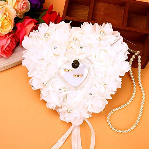 Lint Bruiloft Ring Kussen, Romantische Rose Hart Vorm Bruiloft Ring Bearer Box Favor Kussen Cadeauhouder Decor 24x25cm
