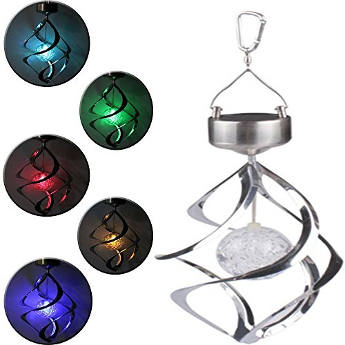 iwish Romantic Solar Power Colorful 7 Colors Changing Wind Chime Rotating LED Hanging Light