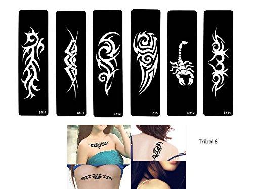 Tribal Tattoo Lot de 6 pochoirs pour tatouages, style tribal