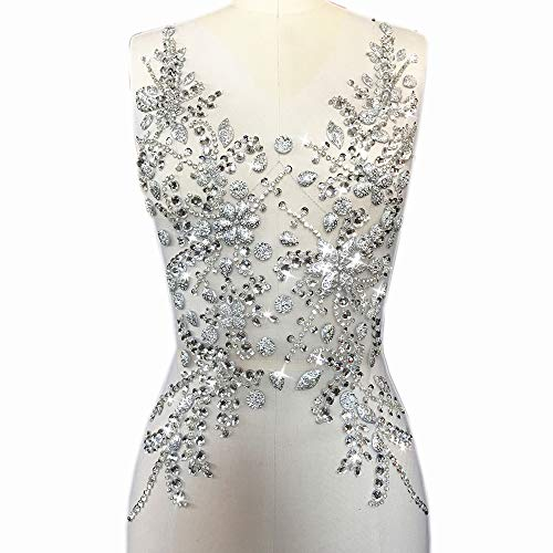 Sew on Sequin Crystal Rhinestones Beaded Clothes Appliques and Back Patches for Sewing Clothes Wedding Bridal Dress Decorative (Silver, 12x21 inch)