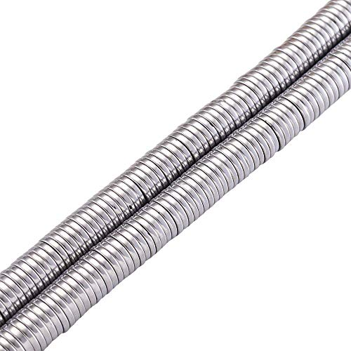 Cheriswelry 370pcs/strand 6x1mm Flat Round Metal Heishi Beads Spacer Platinum Non-Magnetic Synthetic Hematite Flat Disc Coin Loose Beads for Surfer Bohemian Jewelry Making Supplies