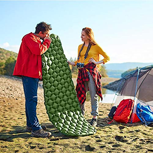 No/Brand Sleeping Pad, Lightweight, Outdoor Sleep Comfort Best for Backpacking, Hiking Air Mattress - Lightweight, Inflatable Camp Sleep Pad (Blue)