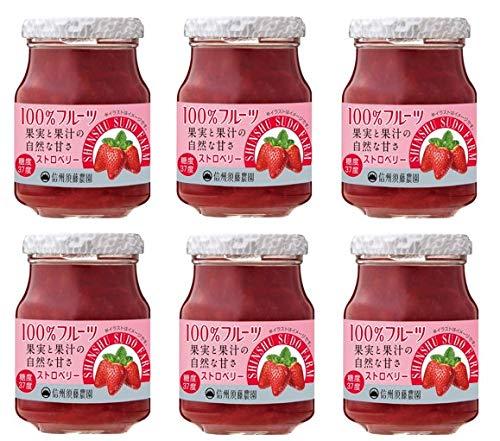 信州須藤農園 砂糖不使用 100%フルーツ ストロベリージャム 185g×6個