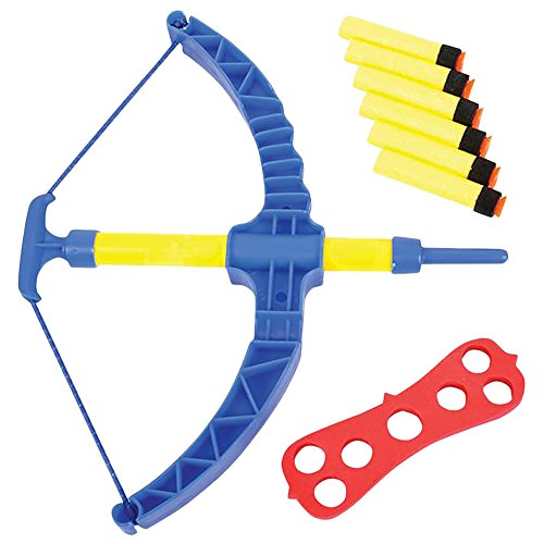 ArtCreativity Blue Super Bow and Arrow Shooter Set - Comes in Blister Card Packaging - Includes Air-Powered Bow, Barrel, Six Soft Darts, Instructions and Cut-Out Dartboard - Sports Toy