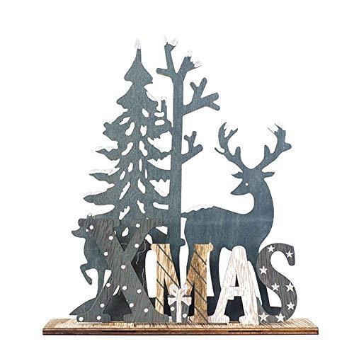 Adornos navideños, adornos de madera de alces de renos de madera, decoración de la fiesta del árbol de Navidad, adornos de alces de pie para la decoración de la mesa de Navidad (Woodland)