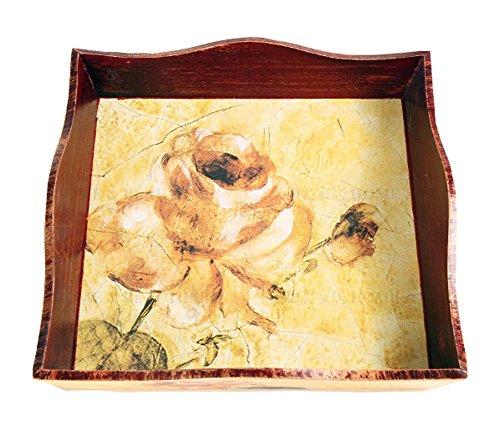Style de Rose européenne Plateau JAUNE / bois et le style rétro Plateau