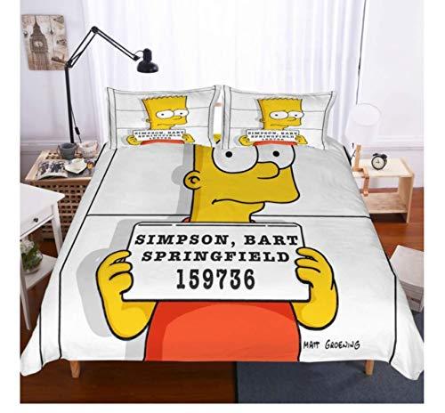 QGHZSCS Juego de Cama de Dibujos Animados Simpsons Funda de Almohada Decorativa Juego de Cama de Microfibra de 3 Piezas Suave Transpirable 200x200 Cm