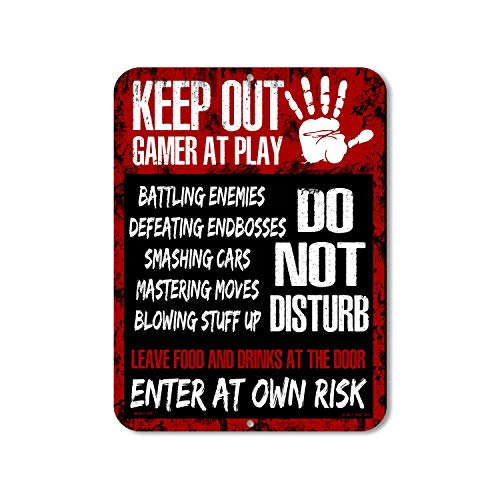 HDG Designs Keep Out Gamer at Play Do Not Disturb Enter at Own Risk 9 inch x 12 inch Tin Metal Alumi