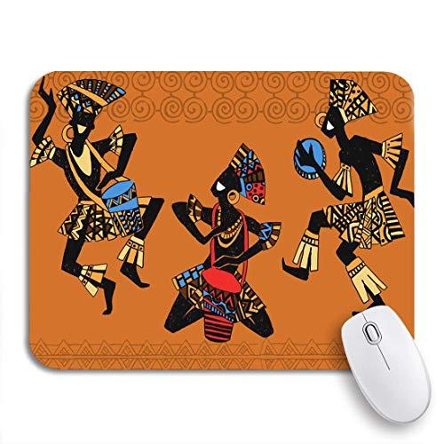Gaming mouse pad orange afrikanische tanzende aborigines papuanische borigine-trommel amerikanisches symbol rutschfeste gummi-träger-computer-mauspad für notizbücher mausmatten