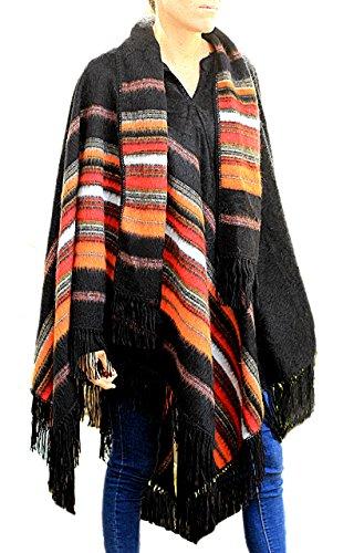 TINKUY PERU – Unisex Poncho aus peruanischer Alpakawolle – Unisex Cape Ruana Poncho mit Schal und Mütze - schwarz - Einheitsgröße Passen Alle