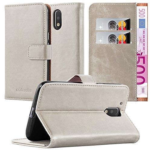 Cadorabo Hülle für Motorola Moto G4 / Moto G4 Plus in Cappuccino BRAUN – Handyhülle mit Magnetverschluss, Standfunktion und Kartenfach – Case Cover Schutzhülle Etui Tasche Book Klapp Style