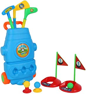 Playmate Golf Club Set with Wheels, 3 Clubs 3 Golf Balls Colorful Golf Accessories for Outdoor Sports