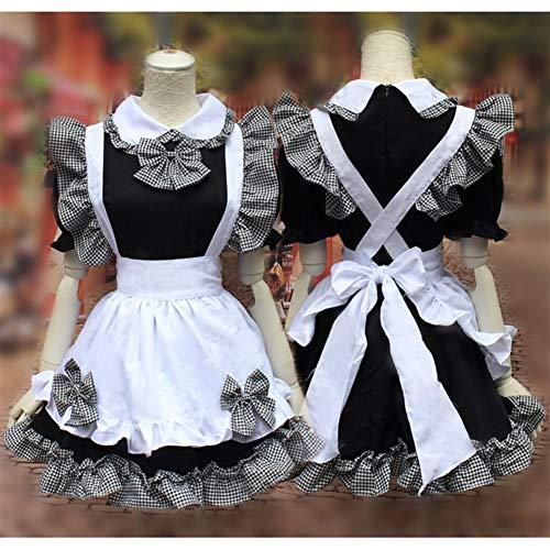 FMN-SEXY, Bowknot French Maid Disfraces Lolita Mujer Niñas Disfraces Lindos Disfraces Cosplay Camarera Disfraces de Fiesta (Color : Black, Size : One Size-Maid)