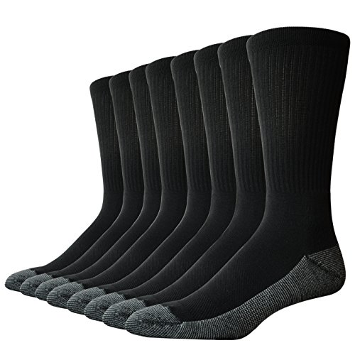 The Sock Crew Mens 8 Pair Pack Crew Socks Work Socks with cushion sole, arch support and mesh...