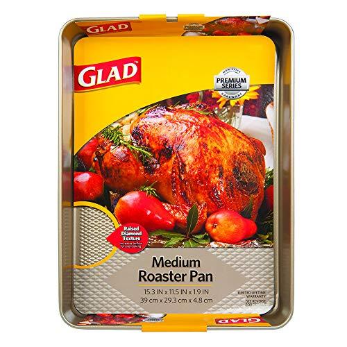 Glad Premium Nonstick Roaster Pan – Oven Baking Sheet with Raised Diamond Texture, Whitford Gold, Medium