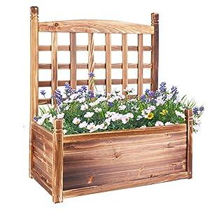 Medla Mesa de Cultivo para Huerto Urbano, 63.5 x 34 x 76 cm Mesa para Cultivar de Madera, Jardinera Rectangular con Enrejado para Verduras Plantas Flores