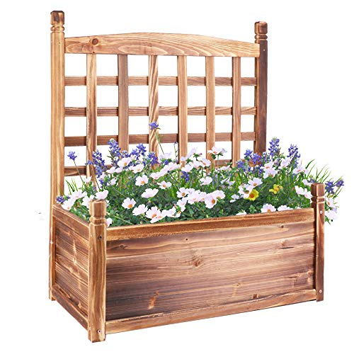 UNHO Wood Planter Box with Trellis, Free Standing Plant Raised Bed Large Plant Trough Container Box for Patio Garden Yard (25''LX13''WX 30''H)