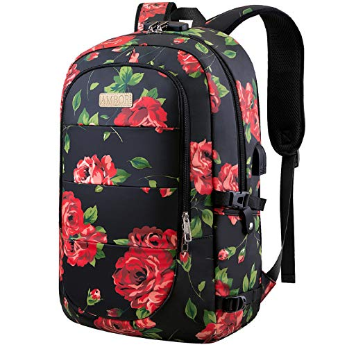 Anti Theft Backpack,15.6-17.3 Inch Business Travel Laptop Backpack with USB Charging Port and Lock, Slim Water Resistant Bag, Laptop Rucksack Bag for Women/Girls/Business/Travel (Flower Pattern)