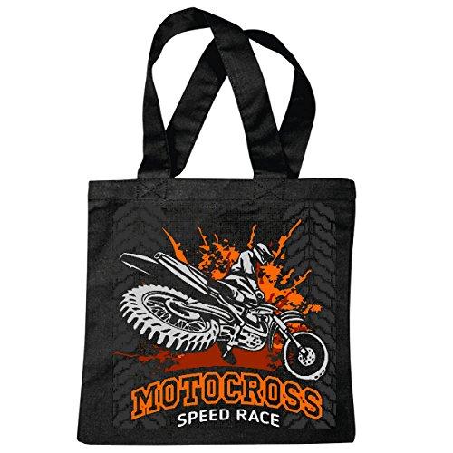 sac à bandoulière SPEED RACE SPORT EXTREME MOTOCROSS MOTOCROSS BIKE OUTDOOR Crossbike FREESTYLE Sac école Turnbeutel en noir