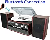 8-in-1 Boytone BT-24DJM Turntable with Bluetooth Connection, 3 Speed 33, 45, 78...