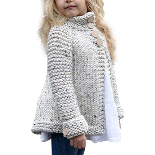 BURFLY Bekleidung Baby MädchenKleidung 2-8 Jahre alte Feste gestrickte Strickjacke-Strickjacke-Jacke Mädchen-Ausstattungs-Kleidung-Knopf-Mantel-Oberseiten (110CM_4 Jahre alt, Beige)