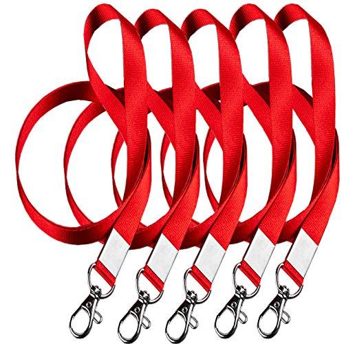 Lanyard for Women Lanyard for Id Badges Red Lanyard, Use to Key Holder/id Holder for Lanyard/Wallet Lanyard/Wrist Lanyard/Wrist Keychain/Lanyard Wallet, Etc. 5PCS