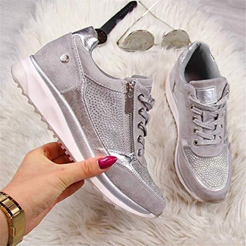 Oceansee Zapatos de las mujeres de oro zapatillas de deporte cremallera plataforma entrenadores zapatos de las mujeres casual cordones zapatos de tenis gris 42