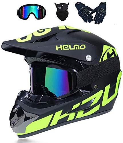 Motocross Helm, mit Handschuhe Sturmmaske und Brille Geeignet,Motorradhelm für Kinder und Erwachsene (D,S?52-53CM?)