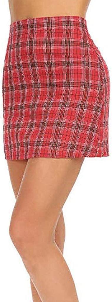 Forthery Women Plaid High Waist Zipper Bodycon Mini Skirt Waist Schoolgril Plaid Skirt