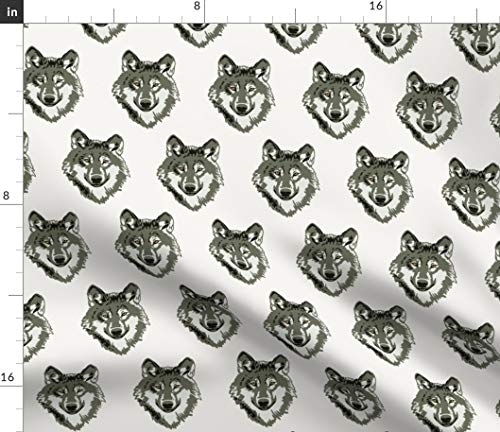 Spoonflower Fabric - Walter Wolf White Small Dog Grey Forest Woodland Gray Animals Printed on Petal Signature Cotton Fabric by The Metre Sewing Quilting Apparel Crafts Decor