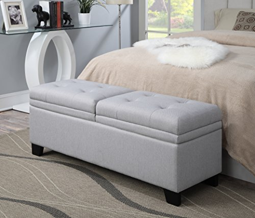 Pulaski Upholstered End of Bed Storage Bench in Soft Grey 5200 W x 1700 D x 1950 H