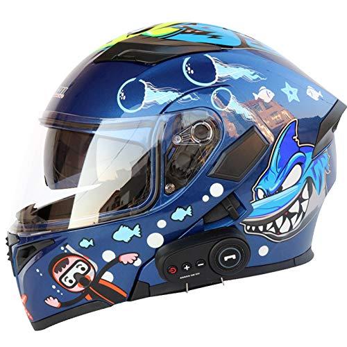 HANHAI Casco de Motocicleta de Cara Completa Casco de Motocicleta abatible con Bluetooth Visera de Sol Doble Motocicleta Plegable J-X-Large