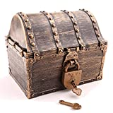 Lingway Toys Kids Pirate Treasure Chest Large Size Teacher's Favorite Treasures Collection Storage Box with 2 Sets of Locks and Keys Only(Vintage Coating,6.3'X4.8'X5.2')