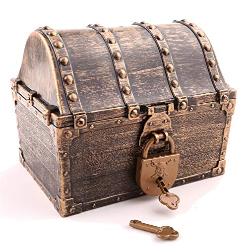 Lingway Toys Pirate Treasure Chest in Different Colorways ,Pirate Coins and Colorful Gems Party Favors for Kids (6.3'X4.8'X5.2',Vintage Chest with Locks Only)