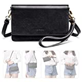 nuoku Women Small Crossbody Bag Cellphone Purse Wallet with RFID Card Slots 2 Strap Wristlet(Max 6.5'')(Black)
