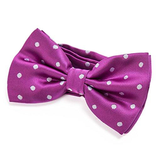 DonDon Pajarita para Hombre de lunares Punto lila elegante con gancho con nudo y ajustable