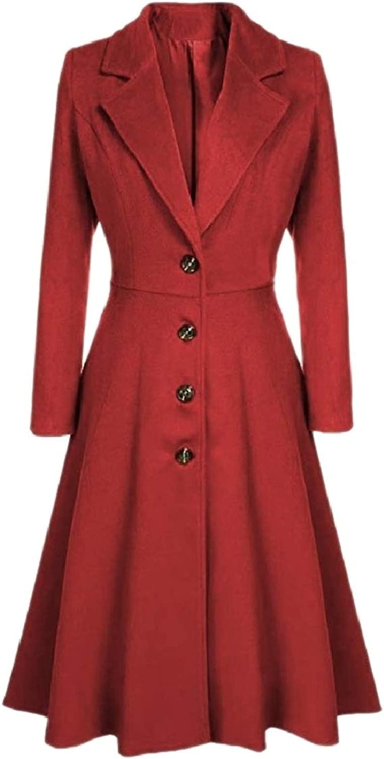 Coolhere Women Jacket Fashion Single Button Notch Collar Overcoat Trench Coat
