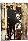 KUSTOM ART Cuadro de estilo vintage de los famosos 'Charlie Chaplin Actore divertido' - Impresión sobre madera para decoración de restaurantes y pizzerías, tractores, bares, hoteles, locanda