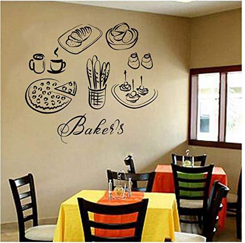 Keuken muur Applique Keuken Voedsel Brood Fruit sap Cake Pizza en andere gesneden voedsel Vinyl Stickers DIY muurschildering 46x42cm