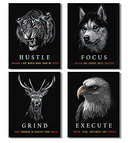 SKYPOP Inspirational and Motivational Wooden Framed Canvas Wall Art for Office Wall Decor- HUSTLE, FOCUS, GRIND & EXECUTE- Positive Quotes Art for Home & Gym - Set of 4 Pcs (12 x 16 Inches)