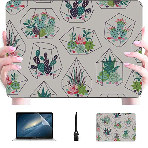 Protective Macbook Pro Case Succulent And Cactuses In Scandinavian Stylish Plastic Hard Shell Compatible Mac Air 13' Pro 13'/16' Macbook Pro 13 Cover Protective Cover For Macbook 2016-2020 Version