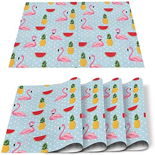 Set di 4 tovagliette all'americana, in poliestere, antimacchia, lavabile, per cucina, tavolo da pranzo, estate, frutta, anguria, ananas, 45,7 x 30,5 cm, 4 pezzi