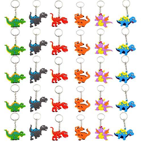 Cotiny 30 Stück sortierte Dinosaurier-Schlüsselanhänger mit Anhänger, Partyzubehör für Kinder