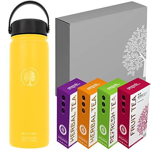 amapodo cadeaus voor vrouwen en mannen cadeaubox cadeauset aanbiedingen duurzame cadeau-idee 2x vruchtenthee 2x kruidenthee 1x thermosfles 600ml #4 Drinkfles geel met zeef & deksel + 4x thee in geschenkdoos